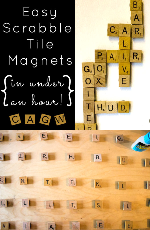 DIY Magnets: It takes less than an hour total to make these easy, DIY Scrabble tile magnets. They're strong enough to actually hold things on the fridge and won't fall apart.