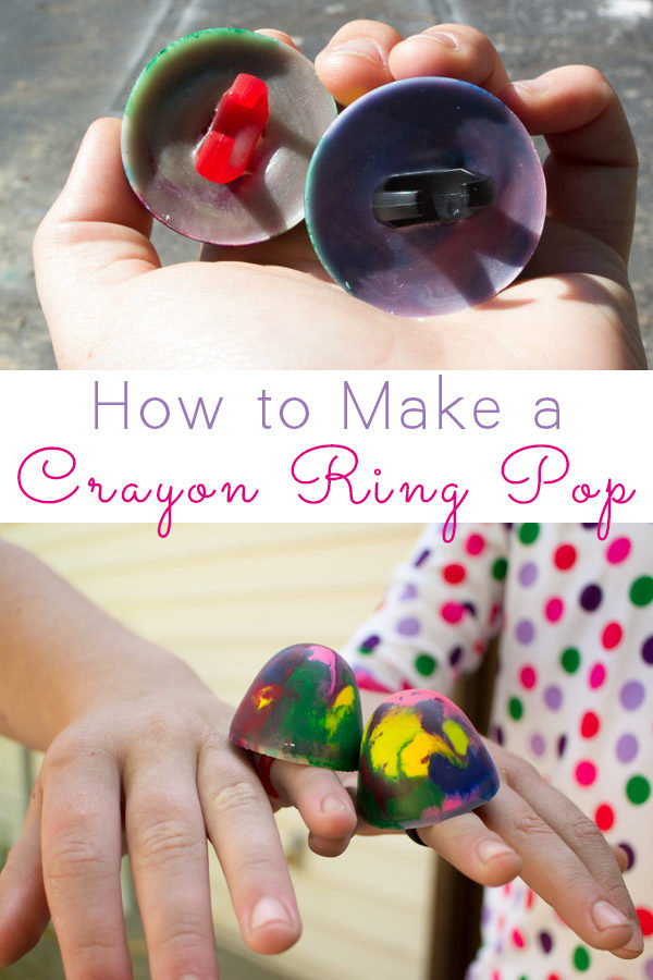 Make a cute, functional crayon ring pop for your kids. Yes, it sits on your hand just like a ring. Yes, it really colors!
