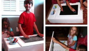Wondering what to do with your old bathroom cabinet or vanity? Turn it into a pint-sized DIY kid art table!