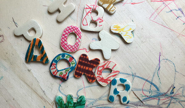 I love the vibrant colors and fun patterns my kid and i have been making on his set of wooden letters!