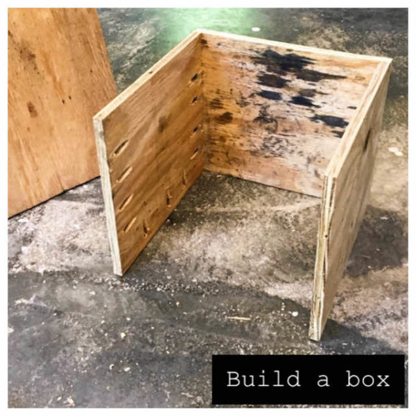 We drilled holes along the sides of each piece where they would be joining the other pieces using a Kreg jig, and then built a box, leaving the front open.