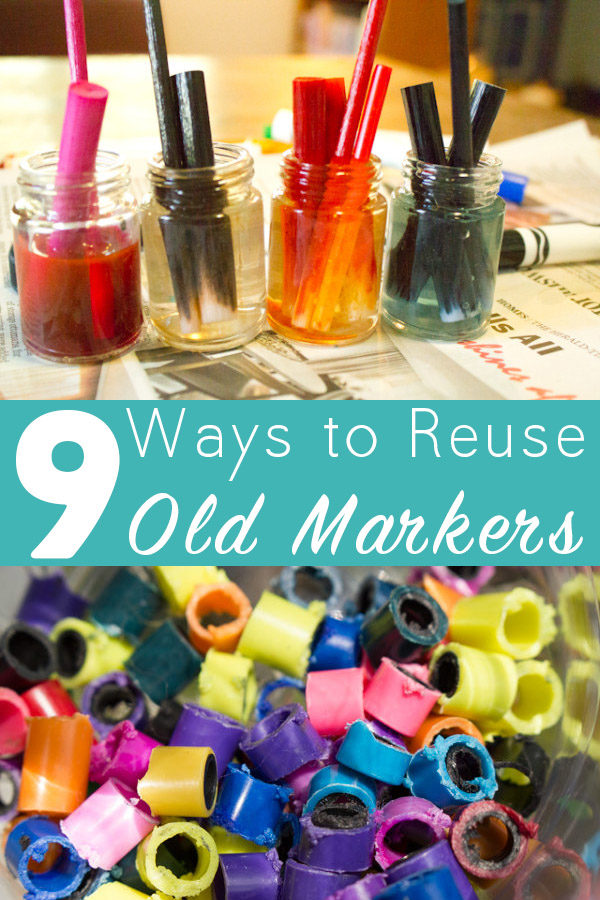 Don't know what to do with that dried-out marker or pen? Try some of these awesome upcycled marker crafts!