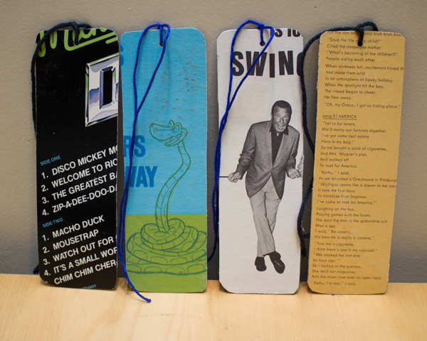 Cardboard Record Album Cover and Duct Tape Bookmark