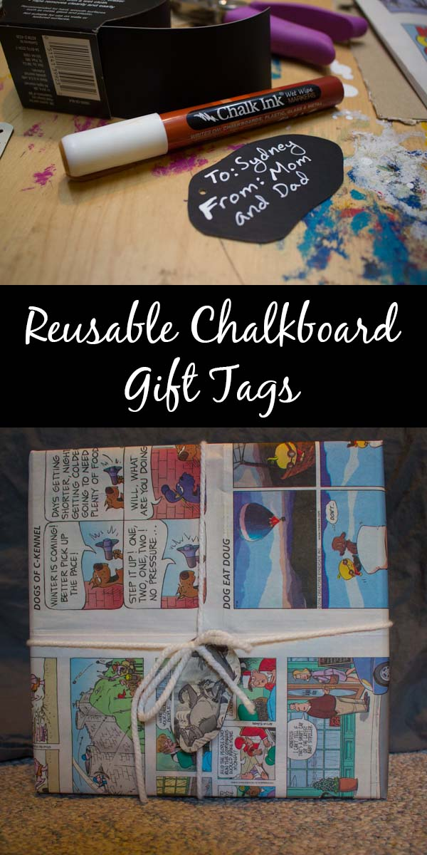 Make reusable, DIY chalkboard gift tags for all of your holiday gift wrapping adventures!