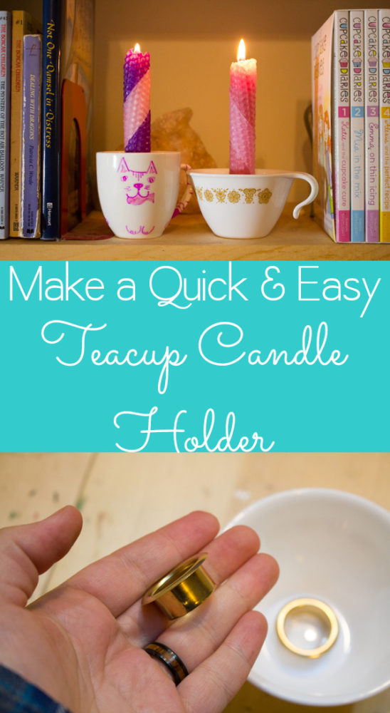 Want to make a teacup candle? Let me try to talk you out of it and offer this safer, simple alternative: the teacup candle holder.