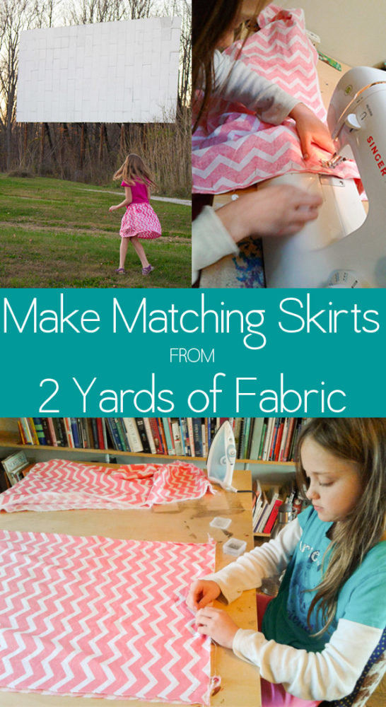 My daughter wanted to figure out how to make matching skirts for her and a friend. With just two yards of fabric, you can do this, too!