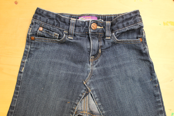 Upcycled Denim Skirt from Blue Jeans