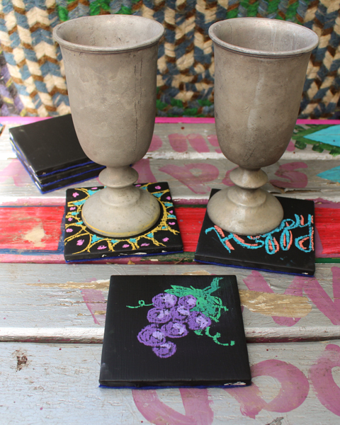 How to Make Chalkboard Tile Coasters