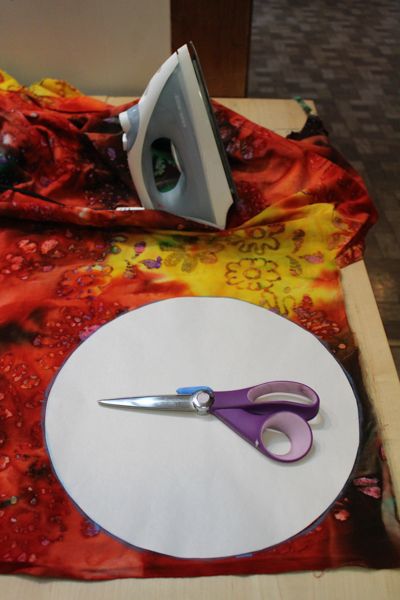 fabric, scissors, iron