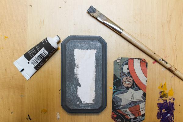 paint, painbrush, paper, wood