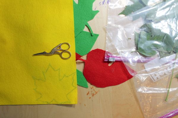 leaf traced onto felt