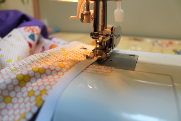 Fibonacci quilt on sewing machine