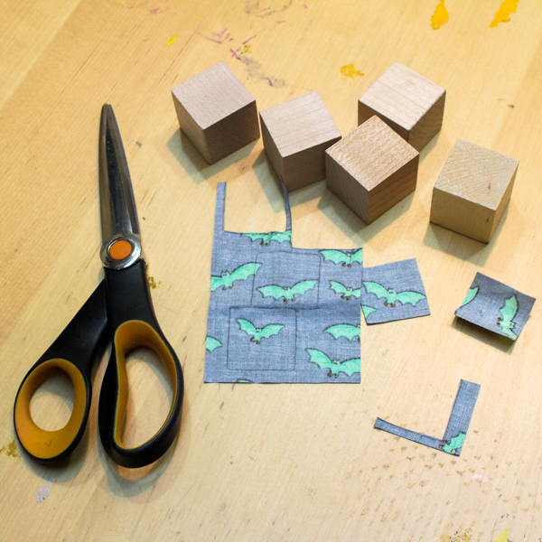 blocks, scissors, and fabric
