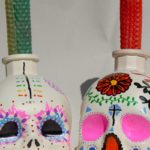 sugar skull candle holder