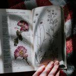 pressed flowers and book