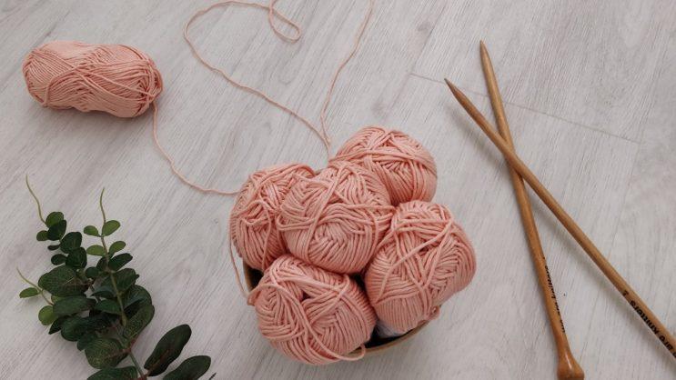 pink yarn heart