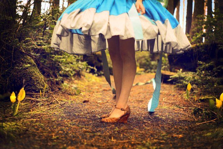 woman in hoop skirt