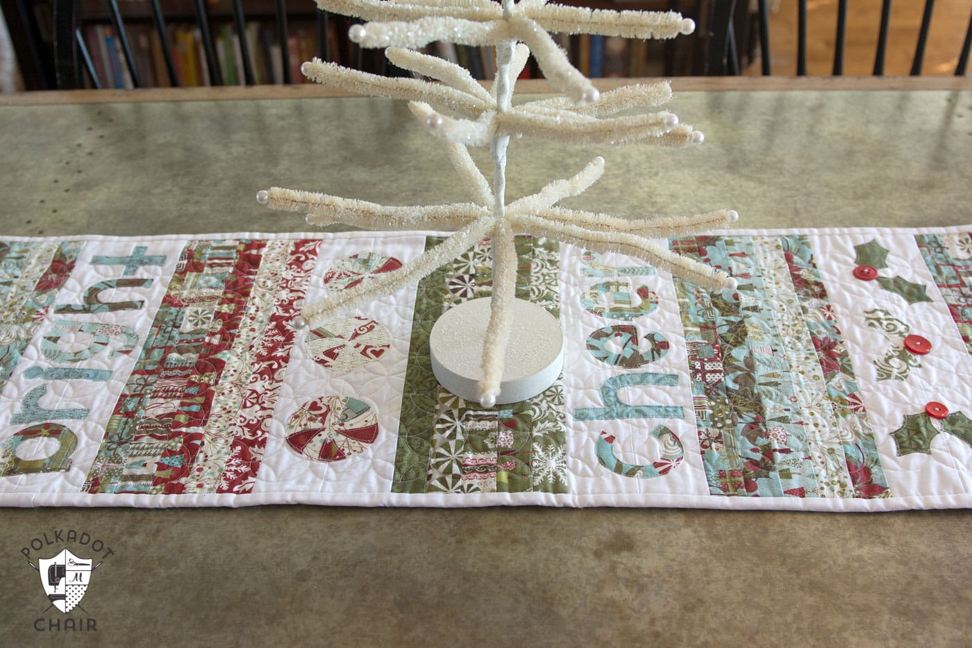 merry and cheer quilted table runner