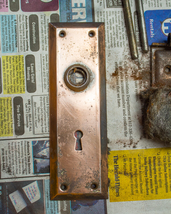 antique door plate cleaned and polished
