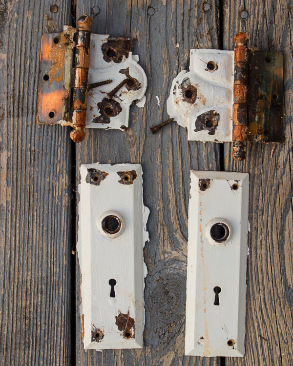 antique door hardware removed from door and ready for cleaning